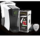 「スペシャル.T」マシンで先程ミルクを抽出したカップにお好みのお茶を抽出する