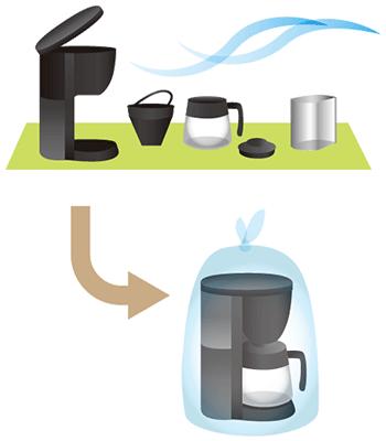 コーヒーメーカー/電気ケトルの水気を十分に切り、万が一水漏れした場合のために、ビニール袋に入れてください。