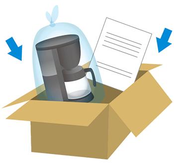 ダンボールをご準備いただき、ビニール袋に入れたコーヒーメーカー/電気ケトルと専用申込書を同梱してください。